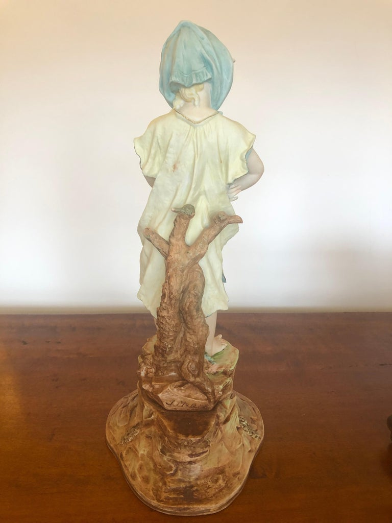 Charming Large Antique Hand Painted Parian Porcelain Figure of a Girl For Sale 3
