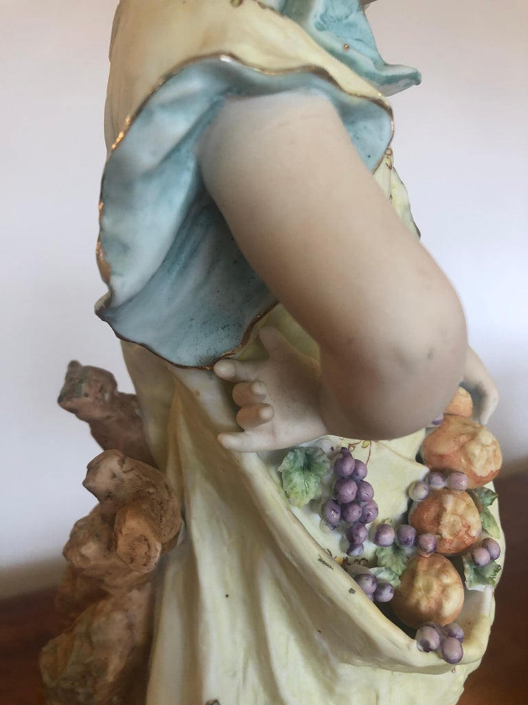 Charming Large Antique Hand Painted Parian Porcelain Figure of a Girl For Sale 4