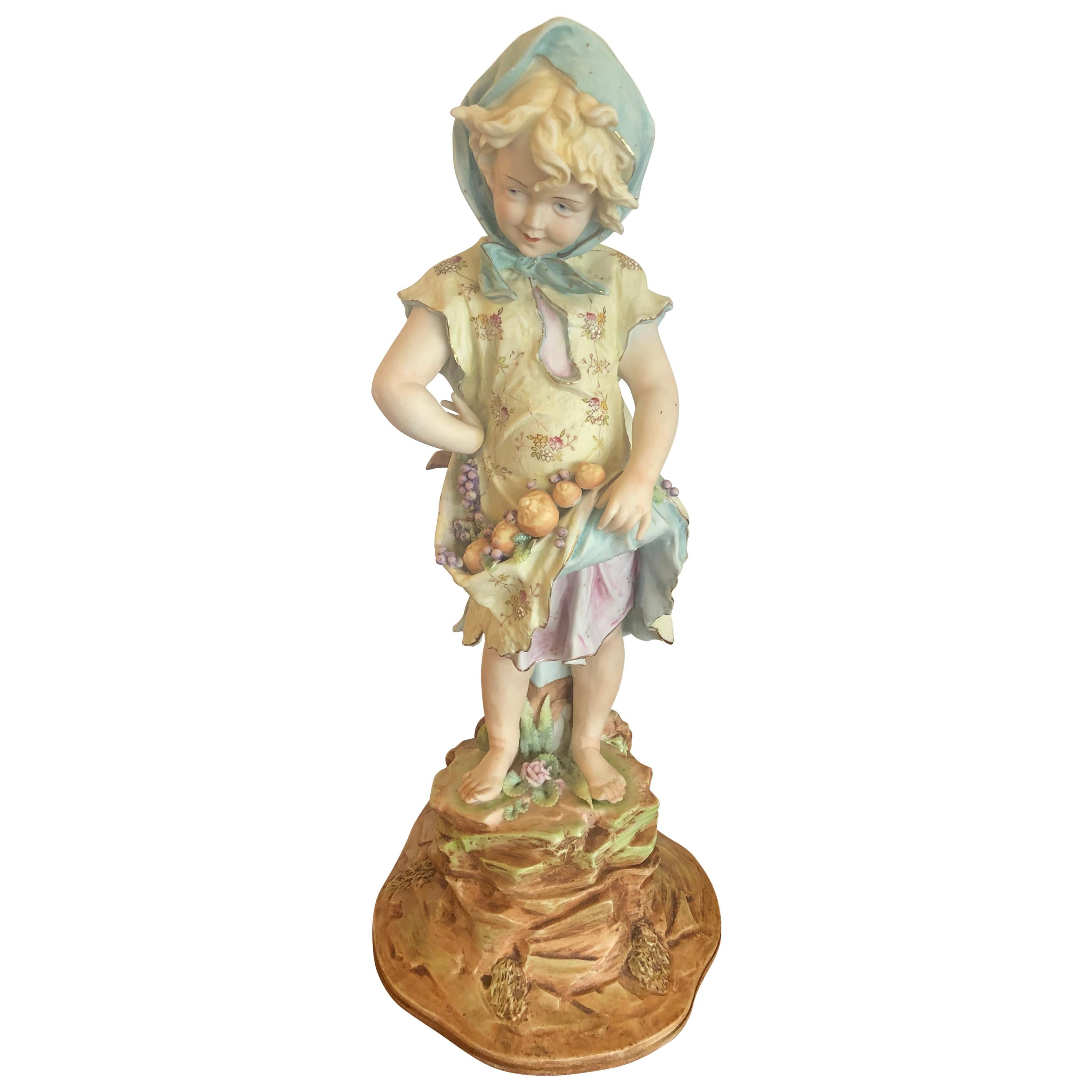 Charming Large Antique Hand Painted Parian Porcelain Figure of a Girl