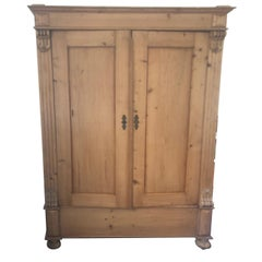 Charming Large Antique Rustic Natural Pine Cupboard Dry Bar