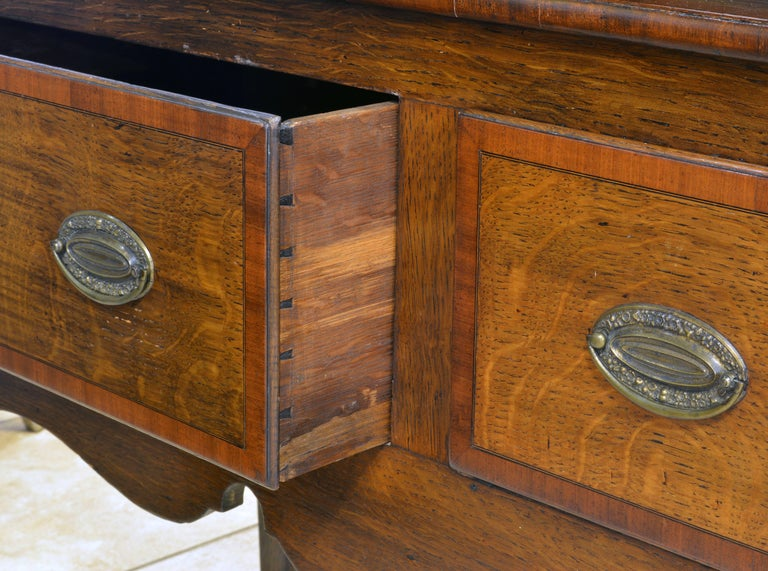 Brass Charming Late 18th Century English Oak and Mahogany Accented Welsh Dresser For Sale