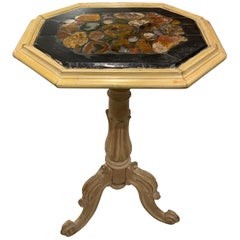 Charming Limed Oakwood Painted and Distressed Cream Occasional Table