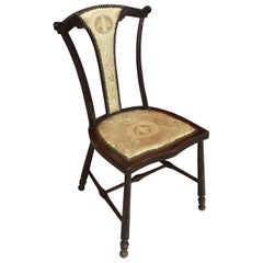 Charming Little English Chair circa 1900 Beautiful Original Fabric to Net
