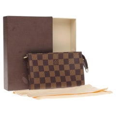 Charming Louis Vuitton Make-Up bag in brown coated canvas