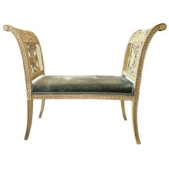 Charming Louis XV Style Carved and Painted Window Bench