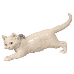 Charming Meissen Figure of a Finely Modeled White Cat with a Blue Bow