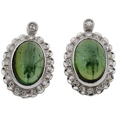 Charming Natural Green Tourmaline and Diamond Vintage Earrings