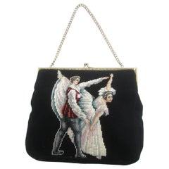 Charming Needlepoint Ballet Scene Artisan Handbag c 1960