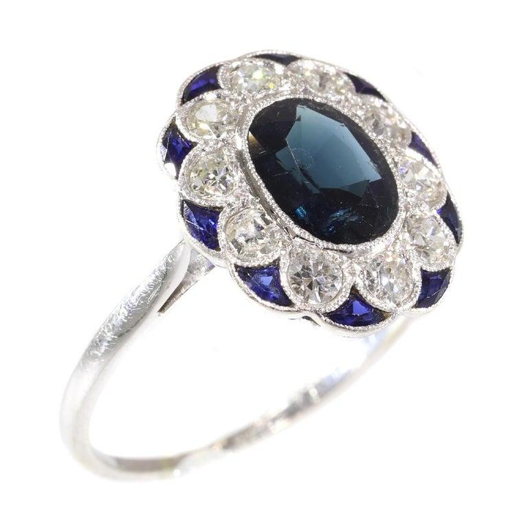 Charming Original Vintage Diamond And Sapphire Engagement