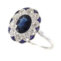 Charming original Art Deco Vintage Diamond and Sapphire Engagement Ring