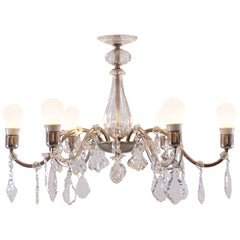 Charming Original Mid-Century Modern Brass and Crystal Glass Chandelier