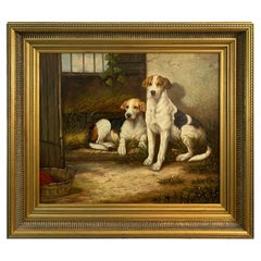 Charming Original Oil Painting of Two Loyal Dog
