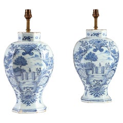 Charming Pair of 18th Century Delft Blue and White Vases Mounted as Table Lamps