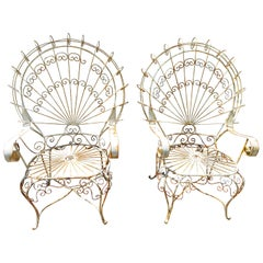 Charming Pair of 1960s John Salterini Vintage Midcentury Peacock Chairs