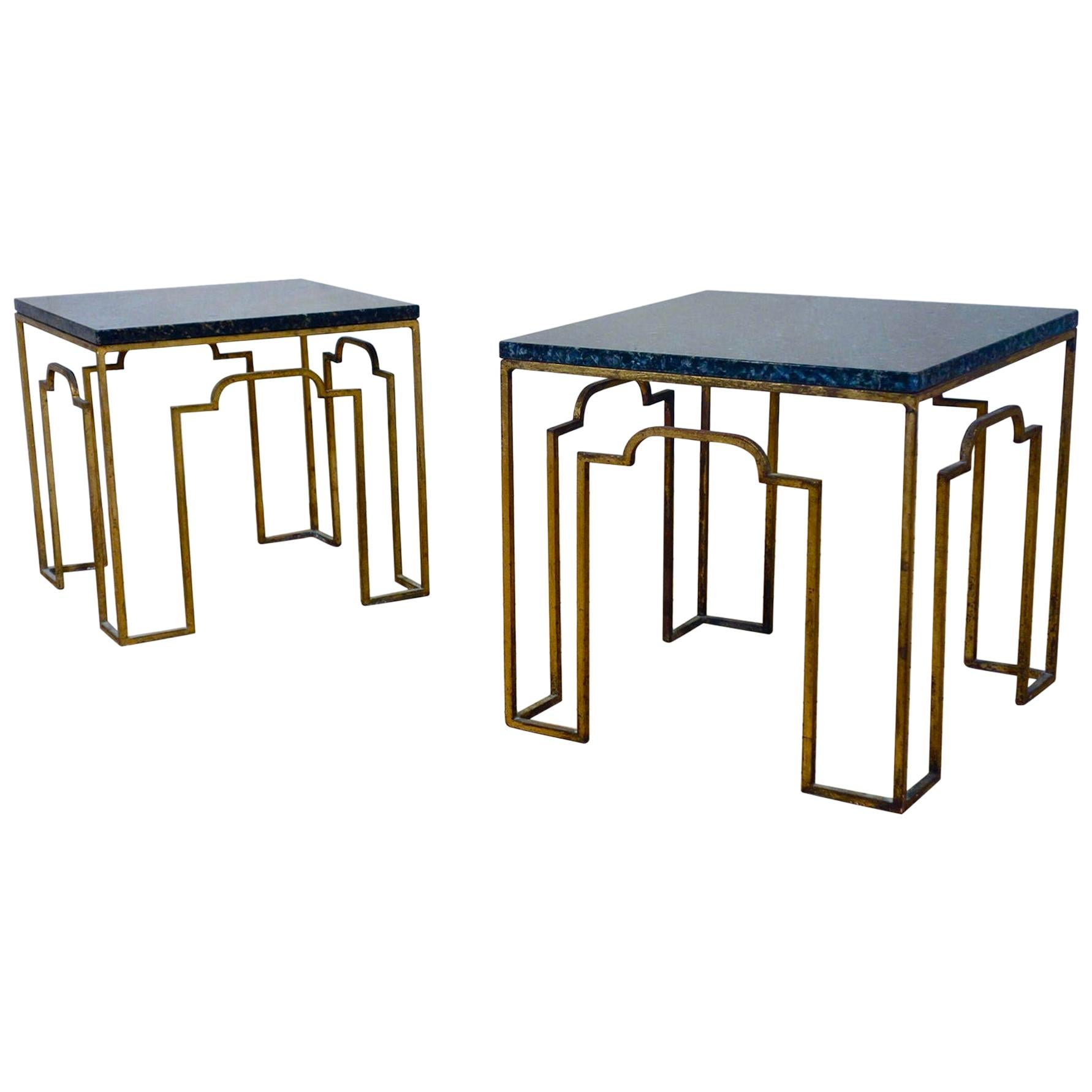 Charming Pair of 20th Century Gilt Metal Occasional Tables