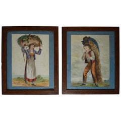 Charming  Pair of Folk Art Watercolor Paintings Farmers Boy Girl, 1835