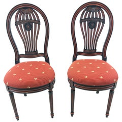 Charming Pair of French Balloon Back Carved Wood and Painted Side Chairs
