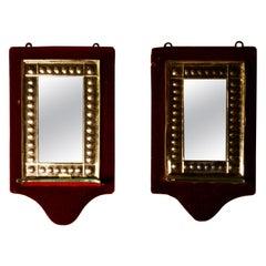 Charming Pair of French Red Velvet Boudoir Shelved Wall Mirrors