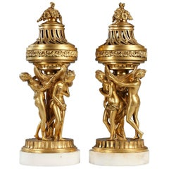 Charming Pair of Gilded Bronze and Marble Perfume Burners After E-M Falconet
