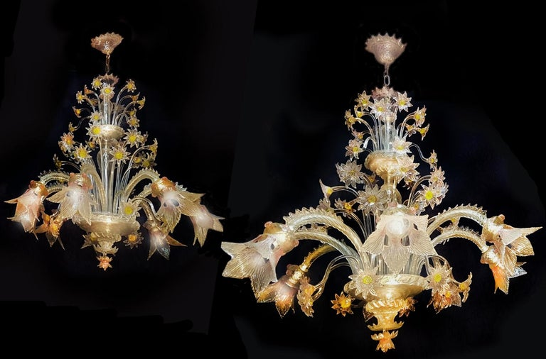 Extraordinary pair of Murano chandeliers created by the historic Vetreria Seguso.