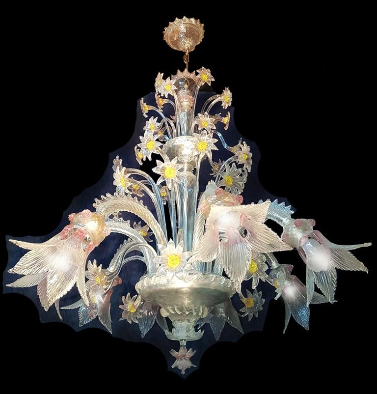 Italian Charming Pair of Murano Chandeliers by Seguso, 8 Arms, Murano, 1950s For Sale