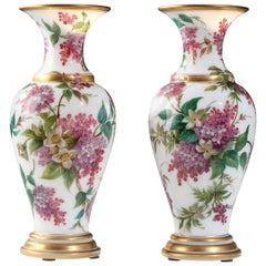 Charming Pair of Opal Crystal Vase Attributed to Baccarat