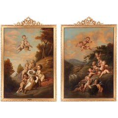 """Charming Pair of Paintings """"Putti Playing in a River"""" after Jacob de Wit"""