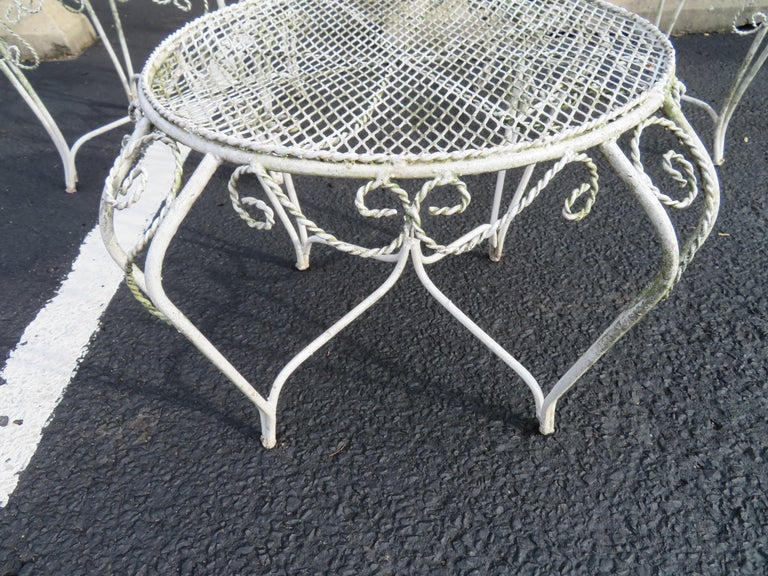Charming Pair of Salterini Peacock Fan Back Patio Chairs Table For Sale 2