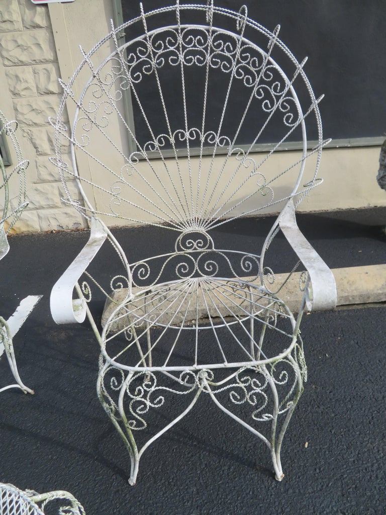 Charming Pair of Salterini Peacock Fan Back Patio Chairs Table For Sale 5