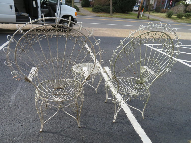 Charming Pair of Salterini Peacock Fan Back Patio Chairs Table For Sale 8