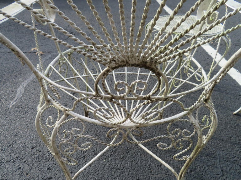 Charming Pair of Salterini Peacock Fan Back Patio Chairs Table For Sale 9
