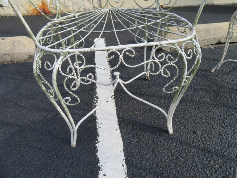 Victorian Charming Pair of Salterini Peacock Fan Back Patio Chairs Table For Sale