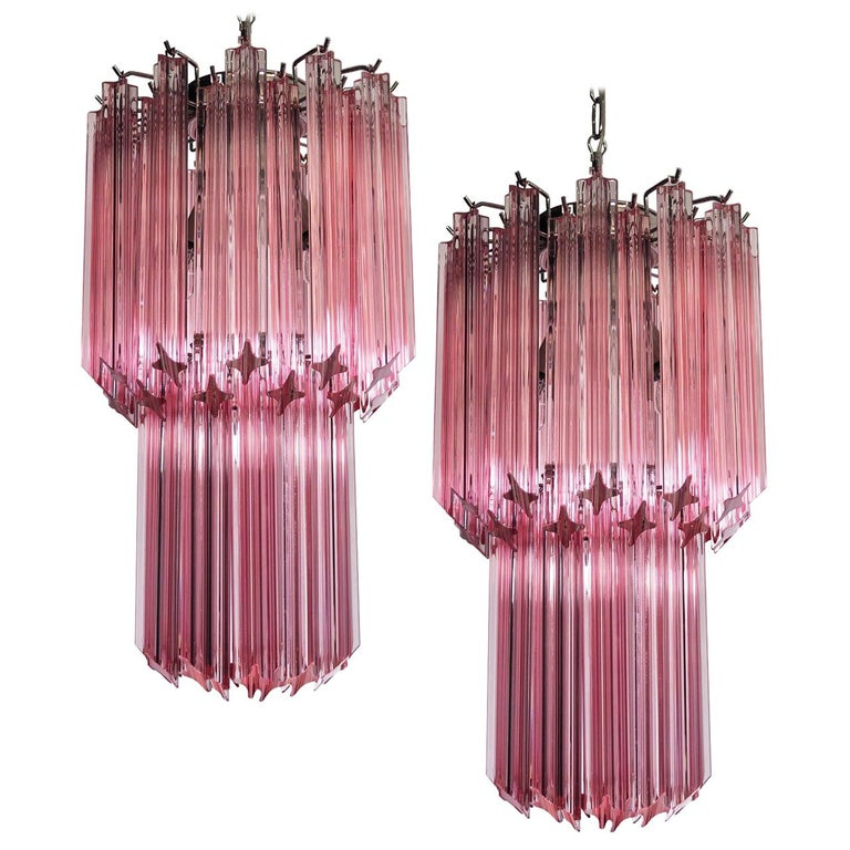 Charming Pair of Triedri Glass Chandeliers, Pink Prism, Murano For Sale