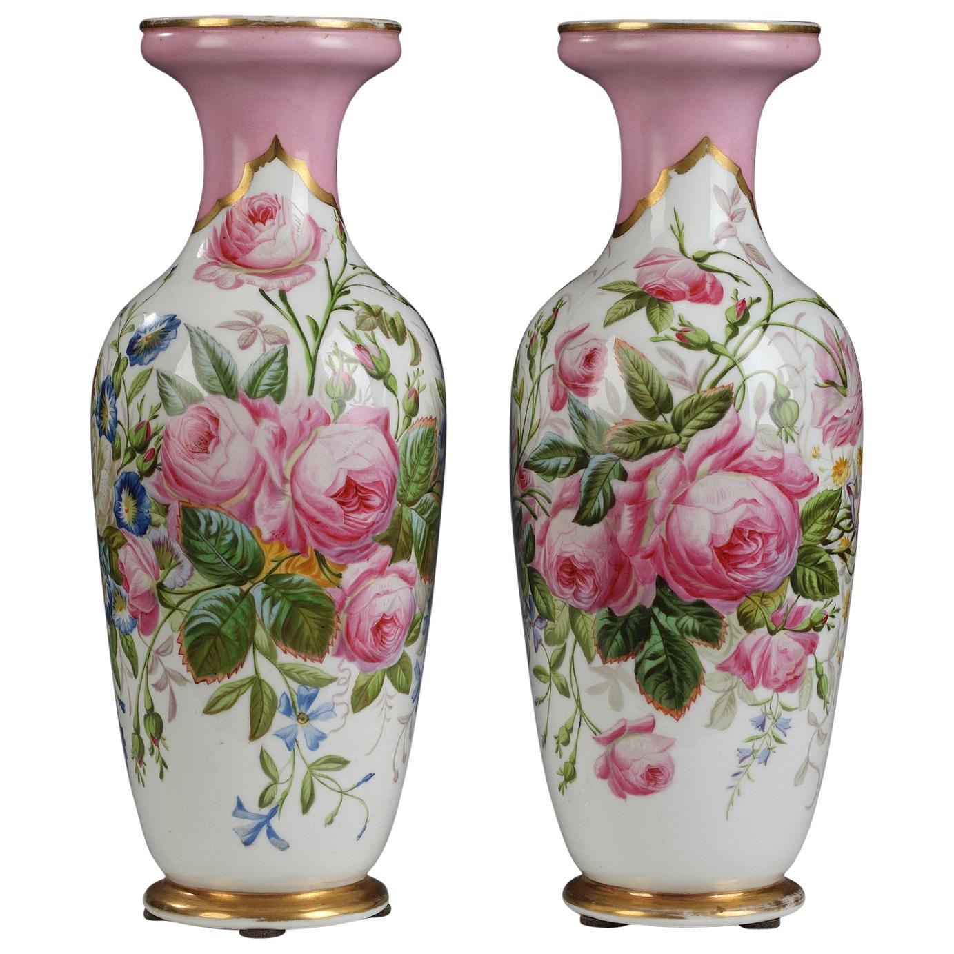 Charming Pair of Vases by Paris Porcelain