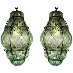 Charming Pair of Venetian Glass Lanterns. Murano, 1950