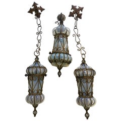 Charming Pair of Venetian Opal Glass Lanterns and Sconce, Murano, 1950