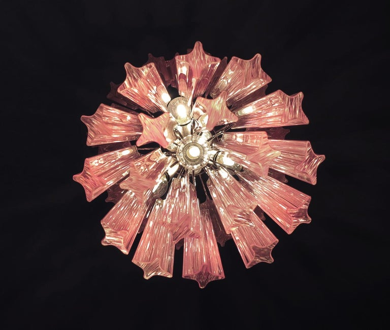 Charming Pair of Triedri Glass Chandeliers, Pink Prism, Murano In Excellent Condition For Sale In Budapest, HU