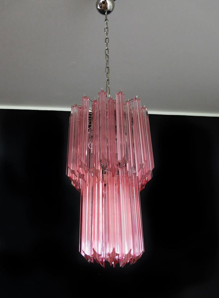 Metal Charming Pair of Triedri Glass Chandeliers, Pink Prism, Murano For Sale