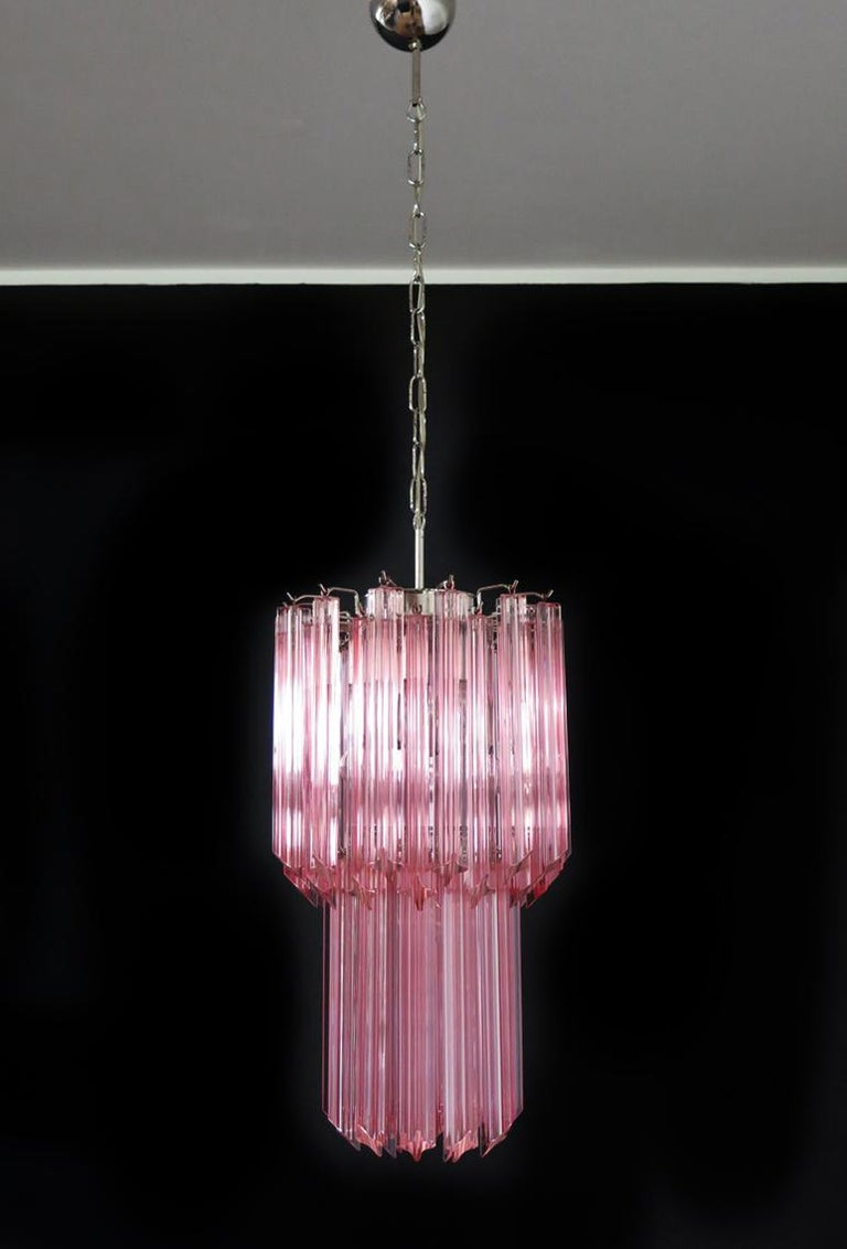 Charming Pair of Triedri Glass Chandeliers, Pink Prism, Murano For Sale 1
