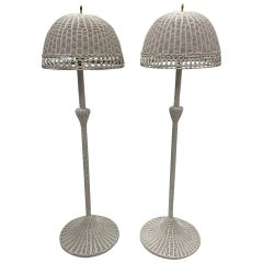 Charming Palm Beachy Matching Pair of White Wicker Floor Lamps