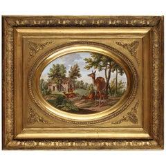 """Charming Paris Porcelain """"Deers in a Landscape"""" by Saunier"""