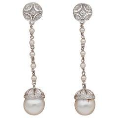 Charming Pearl and Diamond Long Drop Swing Vintage Earrings