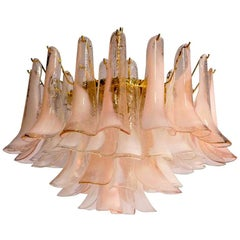 Charming Pink and White Murano Petals Chandelier