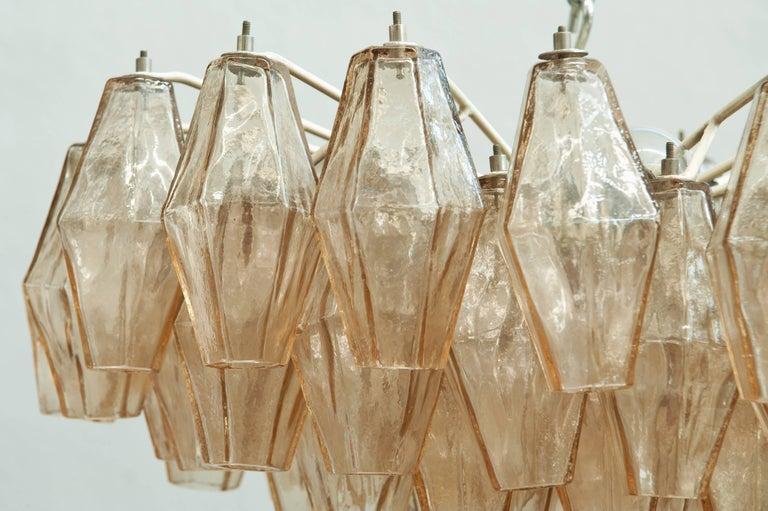 Charming amber handblown Murano glass Poliedri fixture or flush mount attributed to Carlo Scarpa for Venini.