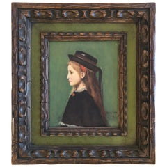 Charming Portrait of Redheaded Young Girl in Hat