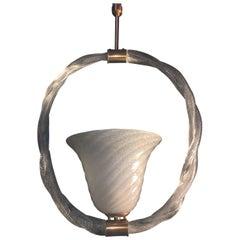 Charming Pulegoso Glass Pendant by Venini, Murano, 1940s