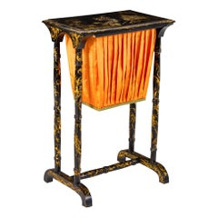 Charming Regency Side Table with Chinoiserie Decoration, Note Silk Bag Removable