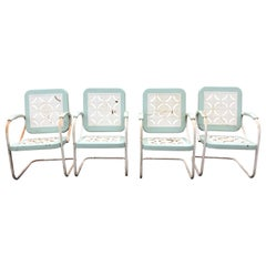 Charming Set of 4 Light Turquoise and White Country Patio Armchairs