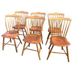 Charming Set of 6 Antique Pine Vermont Side Dining Chairs