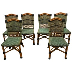 Charming Set of 6 Grange Stained Rattan and Wood Dining or Patio Chairs